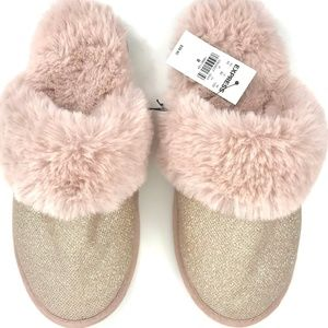 Express Rose Gold Shimmery Fuzzy Slippers M 7-8